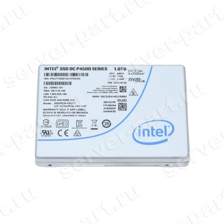 "Твердотелый Накопитель SSD Intel SSD DC P4500 Series 1Tb 3,2Гб/сек TRIM HHHL TLC 3D NAND PCI-E4x 3.1 2,5"" 15mm(SSDPE2KX010T710)"