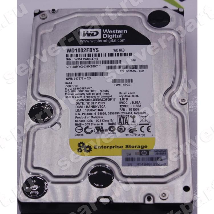 Жесткий Диск HP (Western Digital) RE3 WD1002FBYS-70A6B0 1Tb (U300/7200/32Mb) NCQ SATAII For Gen5 Gen5p Gen6 Gen7(536648-001)